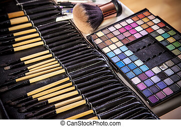 Set of brushes for makeup in a black cover