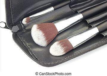 Set of brushes isolated over white background