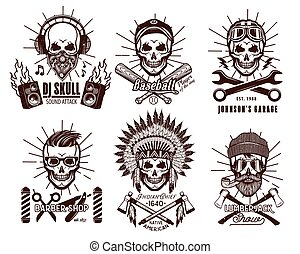 Set of Brutal Skulls. - Skull Logo Set. Vector Illustration....