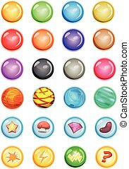 Set Of Bubbles And Magic Balls For Game Ui - Illustration of...