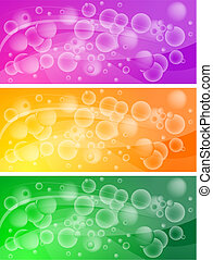 Set of bubbly banners (eps 10) - Set of vibrant bubbly...