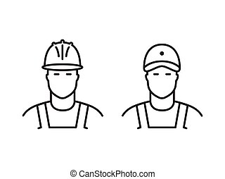 Set of builders line icons