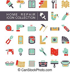 Set of building construction and home repair icons