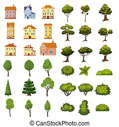 Set of buildings, bushes and trees of landscape elements for garden design, park, games and applications. Vector Graphics, cartoon style, isolated