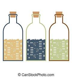 Set Of Buildings In Glasses Bottles