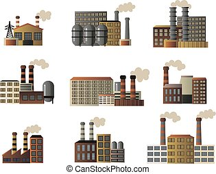 Set of buildings of an industrial manufactory. Different buildings of factories producing crude oil, gas and others.
