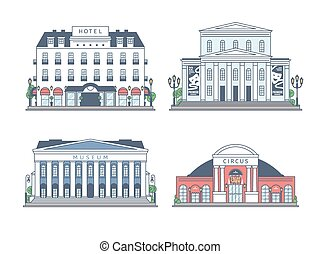Set of buildings on white background.