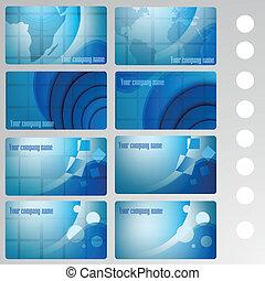 set of buisness card blue