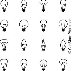 Set of bulb icons, vector illustration