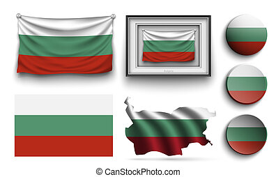 bulgaria flags collection isolated on white