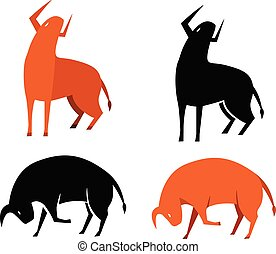 Set of bull icon in silhouette and flat, vector art
