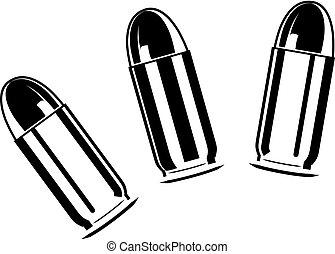 Set of bullets for pistol - Vector set of bullets for...