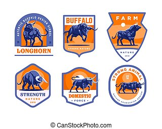 Set of bulls and buffalo in different poses.