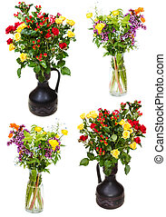 set of bunches of flowers in jugs on white