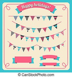 Set of bunting and garland, with banners - Set of bunting ...