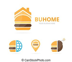 Set of burger logo combination. Hamburger and house symbol or icon. Unique fastfood and rent logotype design template.