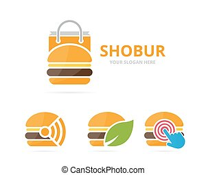 Set of burger logo combination. Hamburger and sale symbol or icon. Unique fastfood and bag logotype design template.