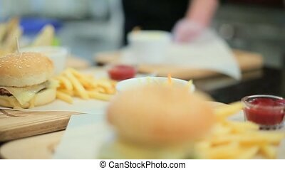 set of burgers and fries