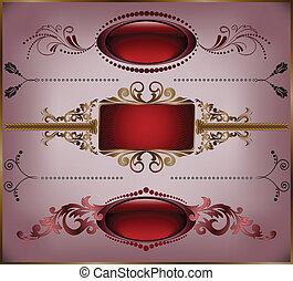 set of burgundy frame