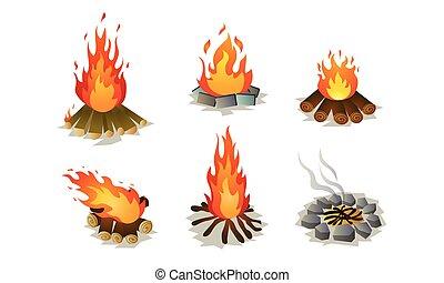 Set of burning bonfire on nature vector illustration - Set ...