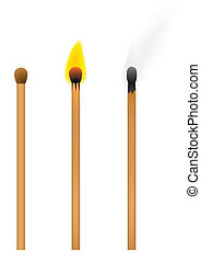 Set of burnt match at different stages