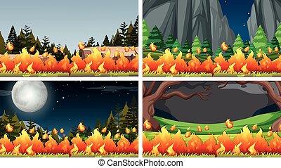 Set of bush fire landscape