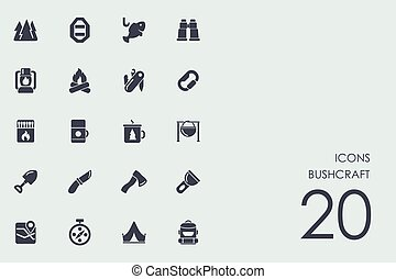 Set of bushcraft icons - bushcraft vector set of modern...