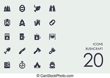 Set of bushcraft icons - bushcraft vector set of modern...