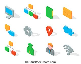 Set of business 3D icons vector illustration isolated on white.