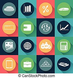 Set of business and finance icons in flat design. Vector