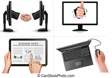 Set of business and office backgrounds. Vector illustration.