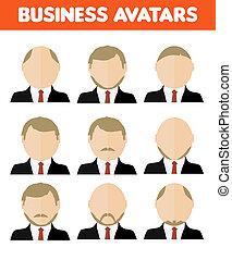 Set of business avatar of businessman