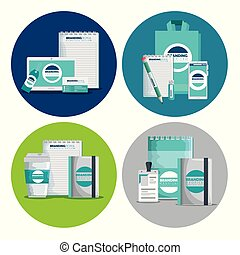 set of business branding product style with license vector...