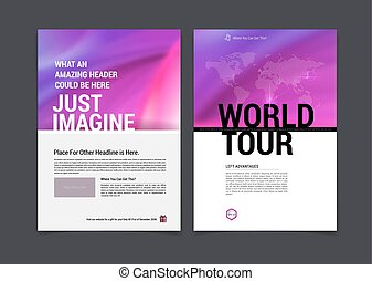 Set of Business brochure, flyer and cover design layout template with blue blurred background with dots. Vector illustration.