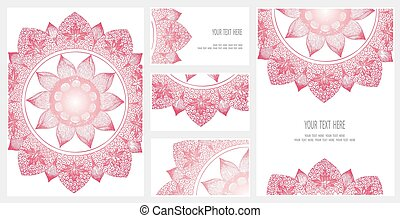 Set of business card and invitation card templates with lace...