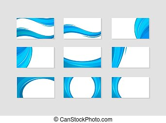 Set of Business Card with abstract blue waves