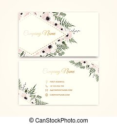 Set of Business card with beautiful flowers. Template.
