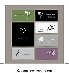 Set of business cards design, female hairstyle sketch