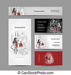 Set of business cards design, girl near the storefront
