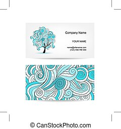 Set of business cards design with art tree