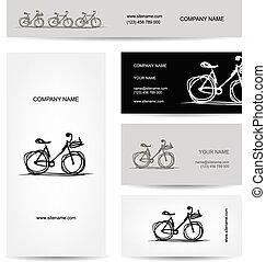 Set of business cards design with bicycle sketch
