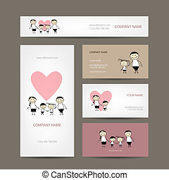 Set of business cards design with family