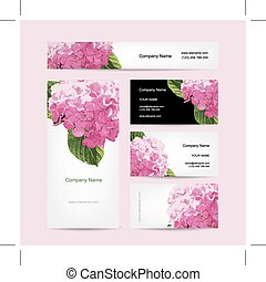 Set of business cards design with hydrangea flower