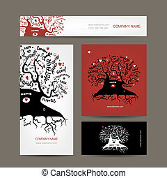 Set of business cards design with old family tree