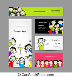 Set of business cards design with party girls. Vector...
