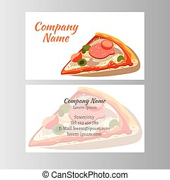 Set of business cards design with pizza
