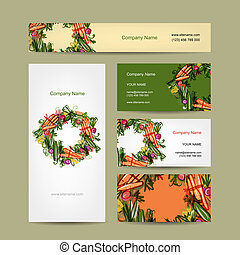 Set of business cards design with vegetable frame
