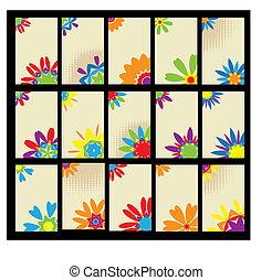 Set of business cards, floral design