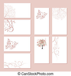 Set of business cards, floral ornament for your design