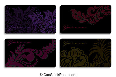 Set of business cards with an ornament